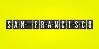 Símbolo americano da aleta da cidade de San Francisco Ilustração do placar do vetor Sinal amarelo branco preto do aeroporto de Ca ilustração royalty free