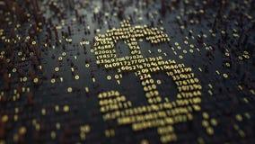 Símbolo americano de USD del dólar hecho de números de oro Moneda o representación relacionada 3D de las divisas Imagen de archivo