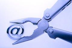 @ - símbolo & alicates do email Fotos de Stock