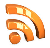 Símbolo anaranjado de los rss Imagenes de archivo