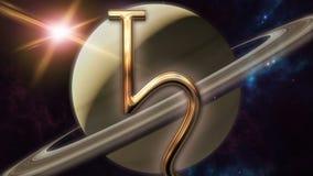 Símbolo animado e planeta do horóscopo do zodíaco de Saturno 3D que rende 4k video estoque