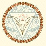 Símbolo animal da cabra do emblema redondo do quadro do ano novo 2015 com o vecto na moda das cores da celebração moderna do Nata Foto de Stock Royalty Free