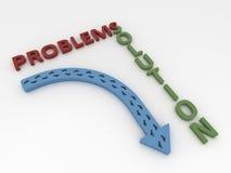 Símbolo azul curvado de la flecha con los pasos, los problemas y la solución C libre illustration