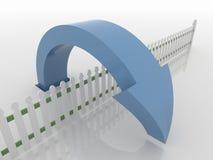 Símbolo azul curvado sobre una cerca, concepto de la flecha de la solución ilustración del vector