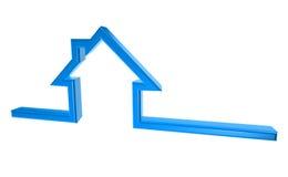 símbolo azul da casa 3D no fundo branco imagens de stock
