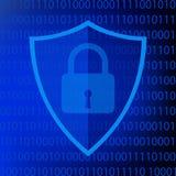 Símbolo azul da proteção da Web no fundo do código binário ilustração stock