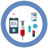Símbolo azul do círculo do dia do diabetes do mundo com cuidados médicos da farmácia da droga da insulina do teste da glicemia do Foto de Stock Royalty Free