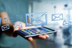 Símbolo azul indicado em um fundo da cor - do email rendição 3D Fotos de Stock Royalty Free