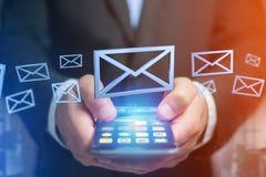 Símbolo azul indicado em um fundo da cor - do email rendição 3D Foto de Stock Royalty Free