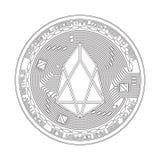 Símbolo blanco y negro del FOE de la moneda Crypto Fotos de archivo libres de regalías