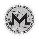 Símbolo blanco y negro del monero Crypto de la moneda Fotos de archivo