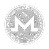 Símbolo blanco y negro del monero Crypto de la moneda Imágenes de archivo libres de regalías