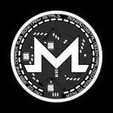 Símbolo blanco y negro del monero Crypto de la moneda Fotografía de archivo