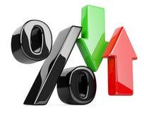 Símbolo brilhante e lustroso dos por cento com uma seta vermelha e verde acima da ilustração do vetor