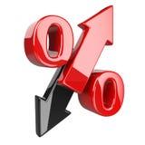 Símbolo brilhante e lustroso vermelho dos por cento com uma seta para cima e para baixo B ilustração do vetor