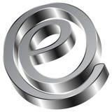 Símbolo brillante del correo electrónico de la muestra de Chrome E Imagenes de archivo