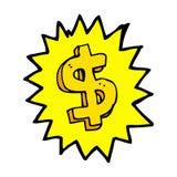 símbolo cómico del dólar de la historieta Imagen de archivo