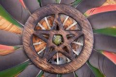 Símbolo cercado de madera del Pentagram con la piedra de Unakite en el medio de un círculo hecho de plumas coloridas del loro Cin fotos de archivo libres de regalías