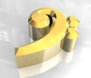 Símbolo chave baixo da música no ouro Imagem de Stock Royalty Free
