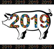 Símbolo chinês dos 2019 anos Porco Fotos de Stock