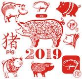 Símbolo chinês dos 2019 anos Porco Fotografia de Stock