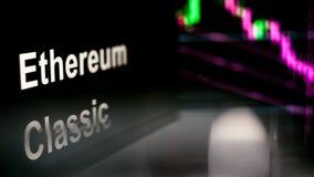 Símbolo clássico de Ethereum Cryptocurrency comportamento de trocas do cryptocurrency, conceito Tecnologias financeiras modernas ilustração stock