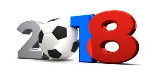 símbolo coloreado 2018 rusos la bola 2018 3d del fútbol del fútbol rinde stock de ilustración