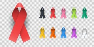 Símbolo colorido realista de la muestra del emblema de la bandera del elemento del diseño de las cintas de la conciencia Foto de archivo libre de regalías