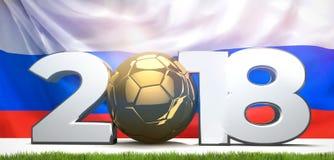 símbolo 2018 com bandeira do russo o futebol 3d do futebol rende Fotografia de Stock