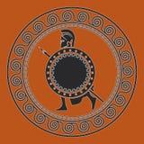 Símbolo com o soldado grego silhueta do soldado espartano ilustração do vetor