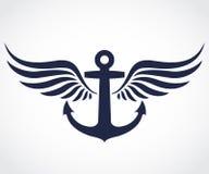 Símbolo con alas del ancla Imagen de archivo libre de regalías