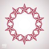 Símbolo conceptual de la unión del vector Elemento festivo con las estrellas, plantilla de lujo decorativa del diseño Icono de ma Imagen de archivo libre de regalías