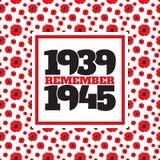 Símbolo conmemorativo de la Segunda Guerra Mundial con las fechas, amapolas ilustración del vector