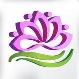 Símbolo cor-de-rosa dos trabalhos de equipa da flor dos lótus 3D do logotipo do projeto gráfico da ilustração da imagem do vetor  Foto de Stock Royalty Free