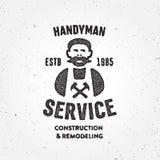 Símbolo corporativo texturizado de la insignia del servicio del carpintero retro de la manitas Foto de archivo libre de regalías