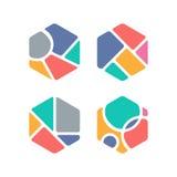 Símbolo criativo do hexágono Temático colorido Forma geométrica ilustração do vetor