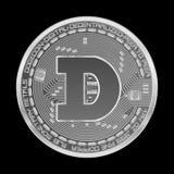 Símbolo cripto da prata do dogecoin da moeda Foto de Stock Royalty Free