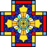 Símbolo cristiano en vidrio manchado ilustración del vector