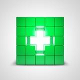 Símbolo cruzado verde de la salud Fotos de archivo