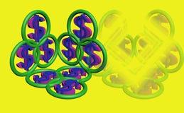Símbolo 3d do dólar Imagens de Stock Royalty Free