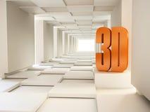 símbolo 3D en Pasillo abstracto Imágenes de archivo libres de regalías