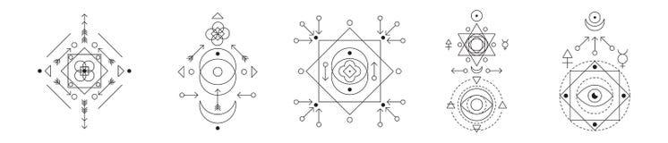 Símbolo da alquimia e do grupo sagrado da geometria Coleção linear da ilustração do caráter para linhas tatuagem no branco ilustração do vetor