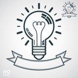 Símbolo da ampola da eletricidade, emblema da introspecção Vector o ícone conceptual da tempestade de cérebro - tema incorporado  ilustração stock