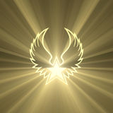 Símbolo da asa da estrela com os alargamentos claros fortes Foto de Stock