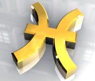 Símbolo da astrologia de Pisces no ouro (3d) Fotografia de Stock