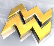 Símbolo da astrologia do Aquarius no ouro (3d) Imagens de Stock Royalty Free
