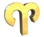Símbolo da astrologia do Aries no ouro (3d) Fotografia de Stock