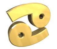 Símbolo da astrologia do cancro no ouro (3d) Imagem de Stock Royalty Free