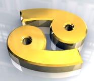 Símbolo da astrologia do cancro no ouro (3d) Fotos de Stock Royalty Free