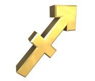 Símbolo da astrologia do Sagittarius no ouro (3d) Foto de Stock Royalty Free